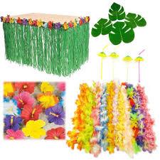 luau party hawaiian luau party event bundle hibiscus table skirt straw