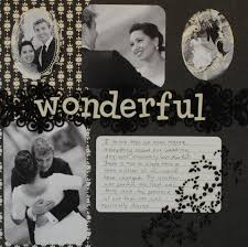 Wedding Scrapbook Page Black And White