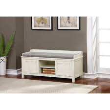 White Entryway Bench by Lakeville White Storage Bench Walmart Com