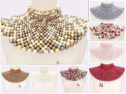 necklace pearl ebay images Beaded bib collar necklace earrings egyptian pearl choker chain jpg