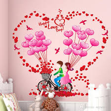 romantic couples home decor wall stickers room decoration bike