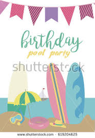pool party invitation template card summer stock vector 619204598