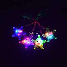2017 led light up flashing jelly star fish necklaces for child