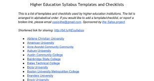 higher education syllabus templates and checklists google docs