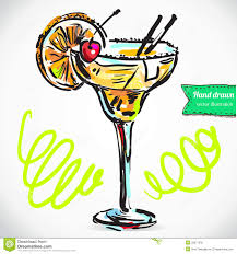 cocktail illustration drawn cocktail pencil and in color drawn cocktail
