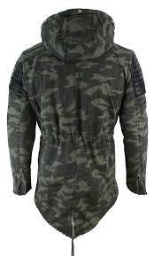 mens fishtail parka duffle jacket denim pu leather fur hood long 3