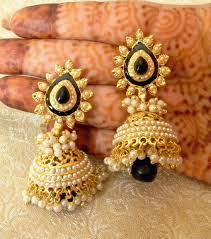 new jhumka earrings fabulous black gold plated bandani jhumka earrings online