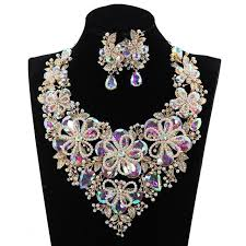 necklace set crystal images Luxury pearl flowers statement necklace drop earrings set crystal jpg