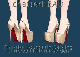 louboutin dafsling glittered platform golden by chatterhead on