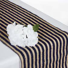 burlap table runners wholesale stripe rustic burlap runner natural tone w navy blue