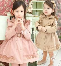 in stock double breasted coat dress fashion winter coat children