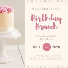 birthday brunch invitation pink beige photo cake birthday brunch invitation templates by canva