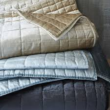Quilted Coverlets And Shams Washed Cotton Luster Velvet Quilt Shams West Elm