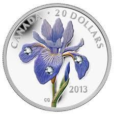 Iris Flag 20 2013 Fine Silver Coin Blue Flag Iris Royal Canadian Mint Coins