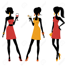 an illustration of group of pretty girls at a cocktail party