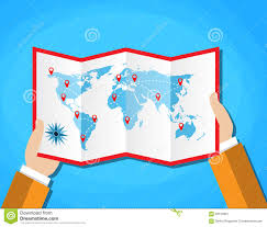 World Map Countries Cartoon Hands Hold Folded Paper Map Of World With Color Point