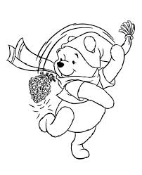 coloring page cone winnie the pooh with cone pine on winter coloring page