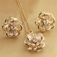 gold flower necklace designs images Vivid dimensional flower design rose gold necklace and earrings set jpg