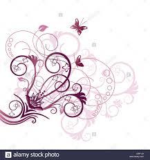 purple and pink flowers swirls and butterflies corner design