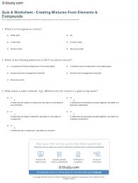 quiz u0026 worksheet creating mixtures from elements u0026 compounds