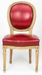 Leather Chair Pair Of French Louis Xvi Style Red Leather Chairs 19th Century