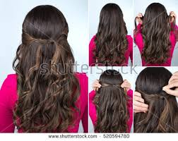 step bu step coil hairstyles simple knotted hairstyle on curly hair stock photo 520594780