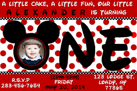 Invitation Card For 1st Birthday Free Mickey Mouse 1st Birthday Invitations Ideas Drevio