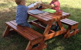Kids Wooden Picnic Table Mini Split Children U0027s Picnic Table Set Kids Outdoor Furniture