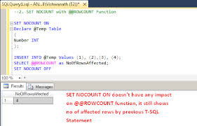 sql server set nocount on statement with examples