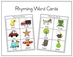 words cards lawteedah rhyming words printable cards