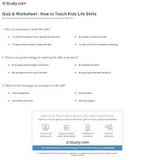 quiz u0026 worksheet how to teach kids life skills study com