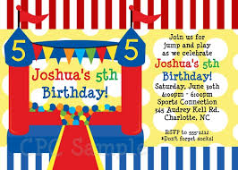 and blue bounce house circus birthday invitations