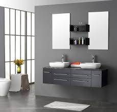 Contemporary Bathroom Ideas Red Gloss Two Bowl Washbasin Bathroom Vanity Ideas Also With Wall