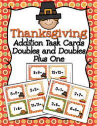 task cards thanksgiving addition doubles and doubles plus one tpt