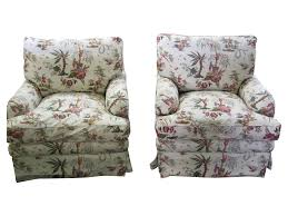 Upholstered Club Chairs by Vintage Toile Upholstered Club Chairs Pair Chairish
