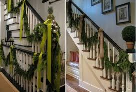 Christmas Banister Garland Ideas Decorate The Stairs For Christmas U2013 30 Beautiful Ideas