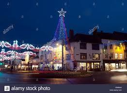 christmas lights bridge street stratford upon avon uk stock