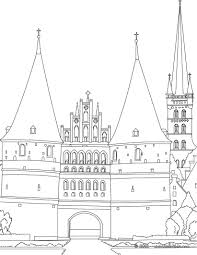 medieval holstentor gate of lubeck coloring pages hellokids com