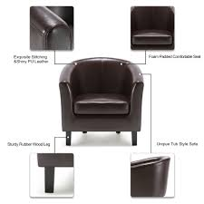 Leather And Wood Chair Ikayaa Contemporary Pu Leather Barrel Tub Chair Armchair Accent