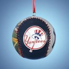 new york yankees baseball in glove ornament by kurt adler