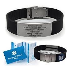 metal silicone bracelet images Silicone sport medical alert id bracelet black incl jpg