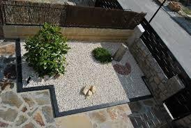 outdoors contemporary rock garden with stone path also gravel