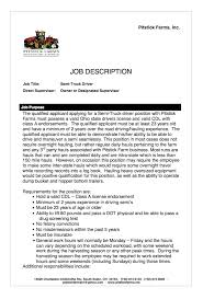 Sample Resume For Truck Driver by Truck Driver Job Description For Resume Example 2 Ilivearticles Info