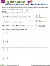 fractions worksheet adding fractions with unlike denominators