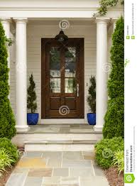 front door with white pillars stock photo image 56661805