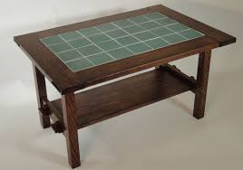 hand crafted mission style white oak and tile coffee table by