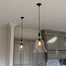 above kitchen counter large glass hanging pendant lights