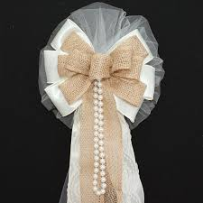 wedding bows ivory burlap lace pearls rustic wedding bows pew church aisle