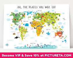 North America Wall Map by Childrens World Map Poster Unique Baby Gifts First Birthday