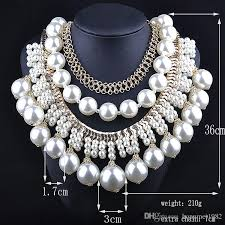 pearl necklace gifts images Newest woman large white pearl beaded necklaces luxurious palace jpg